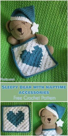 Sleepy Bear with Naptime Accessories [Free Crochet Pattern] Follow us for ONLY FREE crocheting patterns for Amigurumi, Toys, Afghans and many more!