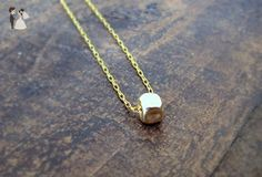 Minimalist Gold filled Necklace, A Single Cube Necklace, Gift For Her, Cute Girlfriend Present, Dainty Simple Handmade Everyday Jewelry - Wedding nacklaces (*Amazon Partner-Link)