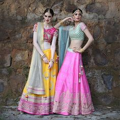 Vibrant colors & delicate embellishment on light lehengas are perfect for the mehendi or sangeet!  #newcollections #bridal #weddingdiaries #lehengas #indianfashion #azadesigners #azafashions #azaaltamount