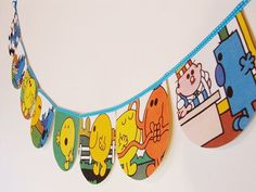 Mr Men Bunting  Mr Grumpy by HeadintheCloudsGifts on Etsy