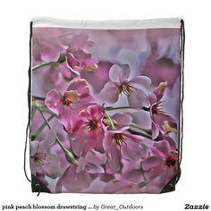 pink peach blossom drawstring backpack