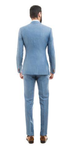 Light Blue Wool Linen Suit | Black Lapel
