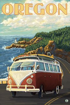 VW Van Cruising the Oregon - Lantern Press Poster