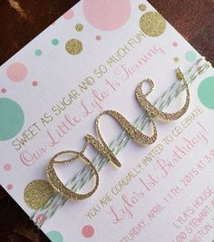 First birthday invitation - gold glitter, pink, mint confetti dots invite with one cut out