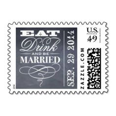 Eat, Drink And Be Married Chalkboard Wedding Postage Stamps