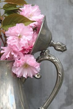 Pink flowers in old silver, always stunning.