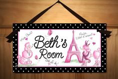 Canvas GROWTH CHART Ooh Lala Paris Poodle Eiffel by ToadAndLily..light pink and green door sign