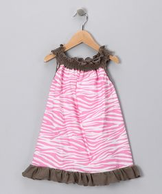Taupe & Pink Zebra Smocked Tunic - Toddler & Girls