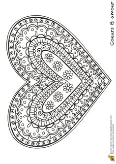 Patterned, Shapes, Doodle, Zentangle Inspired Heart ♥ Coloring Page Coloring Book Pages, Printable Coloring Pages, Coloring Sheets, Coloring For Kids, Free Coloring, Coloring Apps, Doodles Zentangles, Mandala Coloring, Be My Valentine