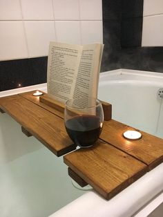 Image result for wood bath book rest with wine cup holder plans
