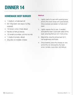 Kayla Itsines Diet, Get Healthy, Healthy Eats, Homemade Beef Burgers, Bbg Workouts, Diet Recipes, Healthy Recipes, Summer Recipes, Meal Ideas