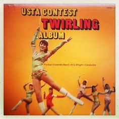 "Late 50s United States Twirling Association contest twirlers album ""to be used at all official USTA contests."" Not sure what's more disturbing an official twirling association or the 50s style photoshop album cover. Purdue University's Marching Band performed."