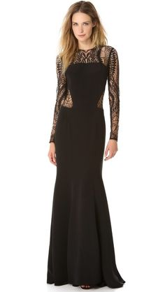 what an incredibly beautiful dress!! Monique Lhuillier Long Sleeve Gown with Web Lace