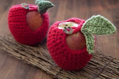 Crocheted Apple Cozy ~ http://steamykitchen.com