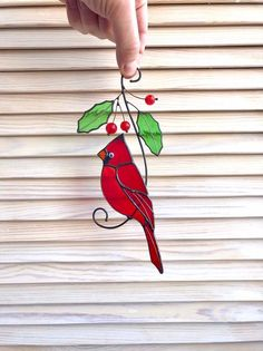 Red cardinal male/ Red cardinal female/ Cuple of red cardinals/ Christmas home decor/ Christmas gift Making Stained Glass, Custom Stained Glass, Stained Glass Birds, Stained Glass Windows, Fused Glass, Home Decor Christmas Gifts, Christmas Home, Handmade Gifts, Handmade Products