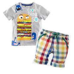Hamburg Baby Boy Kid Summer Short Sleeve T-shirt Tops Clothes Plaid Pants Outfit
