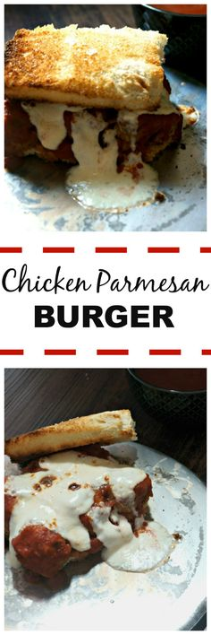 Chicken Parmesan Burgers: A twist on a burger and classic Chicken Parmesan--this juicy, cheesy, burger served up on garlic bread will become a new favorite. #SundaySupper