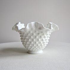 Vintage White Milk Glass Bowl with Hobnail Design by Fenton - Medium