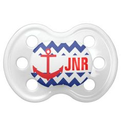 Blue and Red Chevron Nautical Anchor Monogram Pacifier. Perfect gift for a baby boy shower! www.gem-ann.com (Zazzle store).