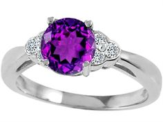 Tommaso Design™ Genuine Amethyst Round 7mm and Diamond Engagement Ring(1.02 ct. tw.)  Style Number: 25696