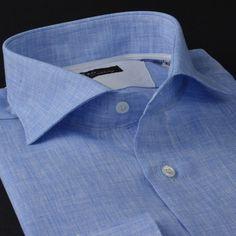 Camicia lino tela tinta unita blu, collo stile francese punte corte, polso smussato