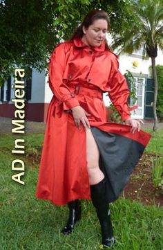 The lovely Ayshea in a scintillating red satin mackintosh. Just note the luxurious soft black rubber lining to the mac. Rain Fashion, Rubber Raincoats, Outdoor Woman, Rain Wear, Preppy Style, Girls, Women Wear, Red Satin, Boots