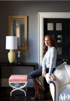 Brooke Shields in the Greenwich Village townhouse she shares with her family; the home was renovated in collaboration with designer David Flint Wood and MADE architects.