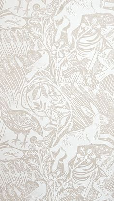 Lovely neutral nursery paper (Harvest Hare Wallpaper Excellent lino print wallpaper with Mark Hearld rabbit and bird design in White and light brown). Large Print Wallpaper, Hall Wallpaper, Fabric Wallpaper, Disney Wallpaper, Neutral Wallpaper, Bird Wallpaper, Bedroom Wallpaper, Animal Wallpaper, Phone Wallpapers Tumblr