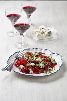 Carpacio z červené řepy s modrým sýrem