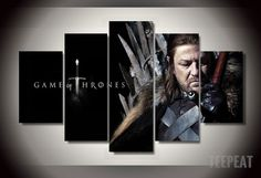 Game of Trones - Eddard Stark 5 Piece Canvas LIMITED EDITION - The Nerd Cave  #prints #printable #painting #empireprints #teepeat