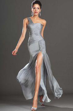 One Shoulder Silver Chiffon Evening Dress