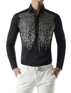 Square Metallic Beads Bling Studs Gems Stretchy Long Sleeve Shirts is part of eye-makeup - eye-makeup Stylish Mens Outfits, Stylish Shirts, Casual Shirts, Groom Shirts, Mens Fashion Wear, Mens Clothing Styles, Printed Shirts, Shirt Style, Men Dress