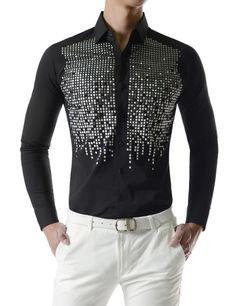 Square Metallic Beads Bling Studs Gems Stretchy Long Sleeve Shirts is part of eye-makeup - eye-makeup Stylish Mens Outfits, Stylish Shirts, Casual Shirts, Groom Shirts, Mens Fashion Wear, Mens Clothing Styles, Printed Shirts, Shirt Style, Men Dress