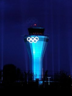 Two sets of Rings placed on either side of the new Air Traffic Control Tower at Birmingham Airport
