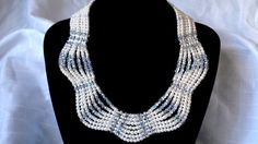 White Pearl Crystal Bridal Necklace Multi by BeadPassionbyAB