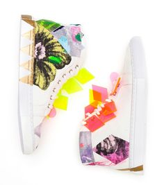 Adventure Sneakers by Miranda Skoczek, One of a kind customized sneakers to be auctioned off with all proceeds going towards kids art therapy school, Little Seeds Big Trees. www.gormanshop.co...