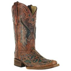 Corral Women's Square Toe Inlay Western Boots