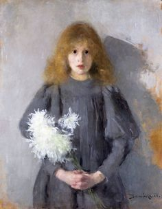 Olga oznanska Girl with Chrysanthemums The National Museum Krak C w Poland