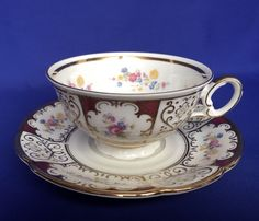 Seltmann Erbendorf German Teacup and Saucer Flowers Gold Trim VTG Floral Tea Cup