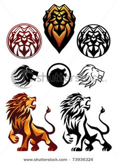 stylized lion heads... These would be cool as a tattoo.