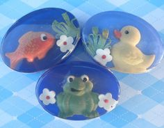 Childrens Glycerin Soap Frog Goldfish Ducky in by PureHeartSoap
