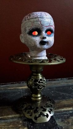 """One-of-a-kind Upcycled Repurposed Steampunk Creepy Doll Head Art """"Cracking Up"""" Victorian Pedestal Lamp w/Edison…"""