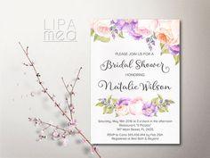 Boho Bridal Shower Invitation Printable Bridal by lipamea on Etsy