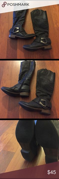 Black knee high boots Reaaally comfy! Worn but in great condition crown vintage Shoes Winter & Rain Boots