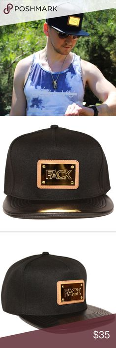 Luxury Leather Metal Active Apparel SnapBack Hat Luxury Leather and Metal  Active Apparel  Sports Apparel SnapBack Hat with adjustable strap. For both  men ... 0b455428514e
