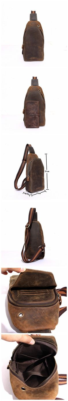 HANDCRAFTED RUSTIC LEATHER BACKPACK SINGLE STRAP CHEST BAG TRAVEL SPORT USE BAG