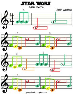 Use this colorful sheet music with your preschool-aged child to awaken the force!  This music works great with a set of Chromonotes desk bells, Boomwhackers, or stickers on your piano.  Get free stickers here: http://www.preschoolprodigies.com/freestickers/.