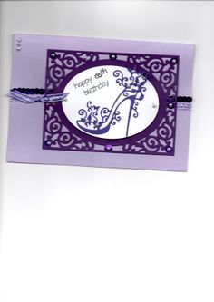 Tattered Lace Purple shoe.  Card by Sue Elvin