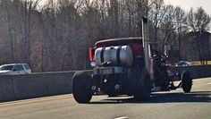 Frankentruck I saw one night. Half semi, half rat rod, very fast and sounded like thunder on wheels. As close as I could get. #Cars