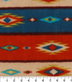 "Anti-Pill Fleece Fabric 59""-Bear Lodge Aztec Stripe"
